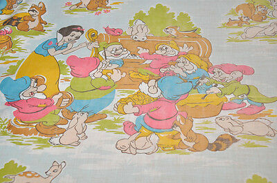 RARE Vintage Disney Flat sheet white snow and the 7 hands