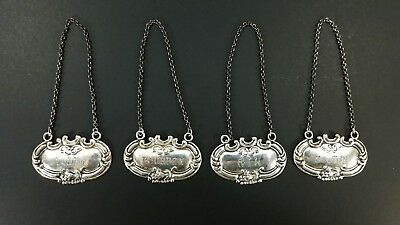 Set of 4 Antique Matching Sterling Silver Liquor Labels Scotch Gin Vodka Bourbon