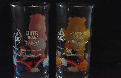 Care Bears Pizza Hut Collectible Glasses 1983  Qty:2