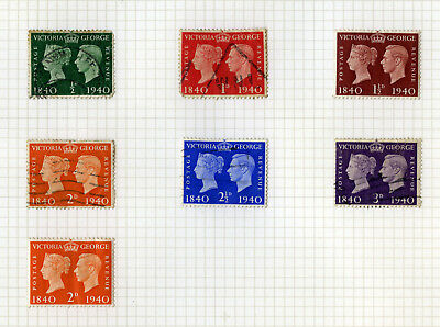 1940 Centenary of First Adhesive Stamps Set of Six used GB Commem Stamps
