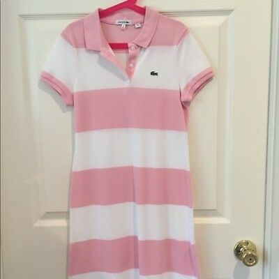 52fb2408 NWOT GIRLS PINK and White Striped Lacoste Pique Polo Dress - $17.00 ...