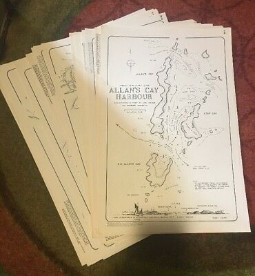 24 Unused Vintage Harry Kline Tropical Isle Nautical Charts Caribbean 70s 80s