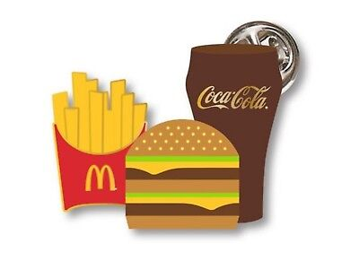 McDonalds Cute Lapel Pin Extra Value Meal Burger Fries & Drink - New