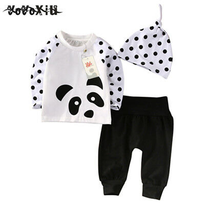 Baby Boys Girls Clothes Tops T-Shirt Pants Leggings Hat Outfits 3PCS born b Q2C5