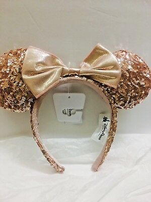 """New Disney Parks """"ROSE GOLD"""" Champagne Minnie Mouse Bow Sequins Ear Headband"""