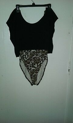 Awesome vintage Gilda Marx black and leopard print crop top combined bodysuit