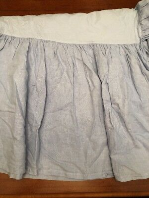 "Bella Notte Linen Blend Dust Ruffle Crib Skirt Baby Blue EUC 21"" Drop"