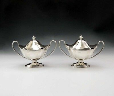 1906 Handsome Pair Antique English Sterling Silver Covered Sauce Tureens