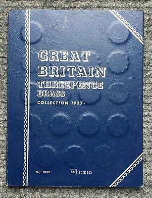 1937 - 1970 Britain Complete 3 / Three Pence Brass Coin Set In Album