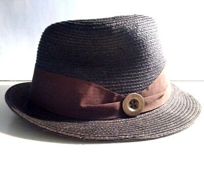 abe3f199724 Brixton Handmade Bucket Fedora Hat Women Size Medium 57 CM Brown Buckle  Ribbon