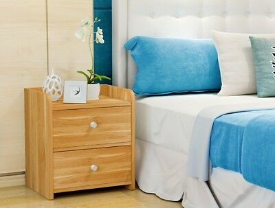 2 Drawers Nightstand Storage Wood End Table Bedroom Side Bedside
