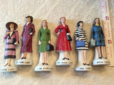 LOT OF SIX (6)~1975 & 1979-1983 Avon Porcelain Avon Lady DECANTER Figurines~NAAC