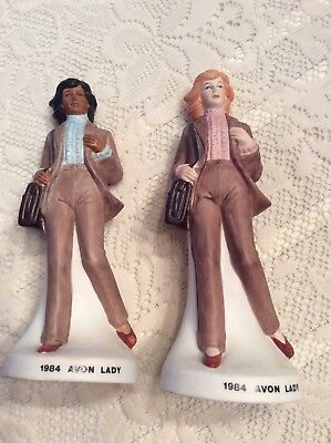 (2) 1984 AVON~FIGURINES~MRS ALBEE AWARD~PORCELAIN~13th ANNUAL NAAC CLUB BOTTLES
