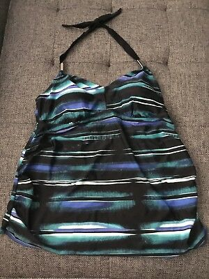 Liz Large Maternity Womans Black and Blue Halter Tankini  Sz Large