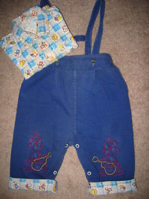 VINTAGE 50s BABY BOY ROCKABILLY, Flannel Shirt/Lined Pants 2 piece set, 12 mons