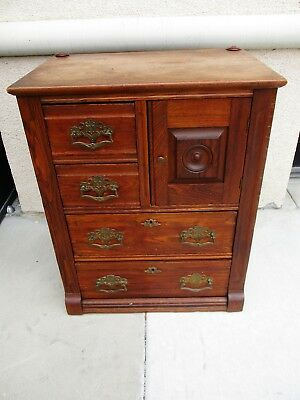 *SALE* 1890's VICTORIAN AMERICAN OAK SMALL CHILDS EASTLAKE HAT BOX CHEST