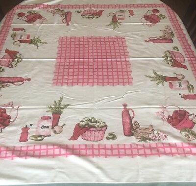 VINTAGE 50's RAYON TABLECLOTH KITCHEN THEME JAM GLASS SUGAR CLOVES EEC pink red
