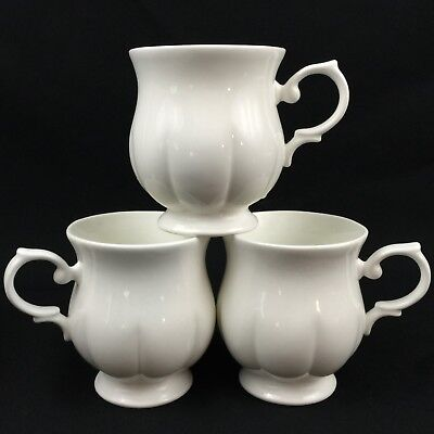 Set of 3 Footed Mugs BLOCK Spal Windsor Bone White Porcelain Coffee Thailand
