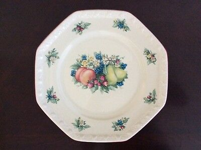"""Avon China Sweet Country Harvest Pattern 10"""" Octagon Dinner Plate Vintage 2003"""