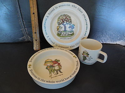 """Joan Walsh Anglund  """"Friends"""" 1970's Johnson Bros. Child's Plate, Bowl & Cup"""