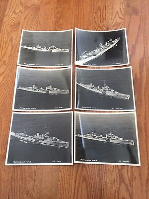 LOT OF 6 WW2 Era ORIGINAL LARGE PHOTOS SHIPS CARRIERS Army Air Corps