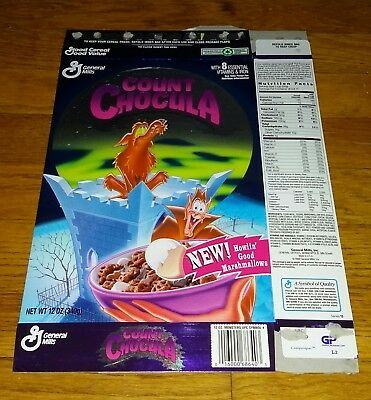 Vintage 1995 General Mills Monster Cereal Count Chocula Foil Cereal Box