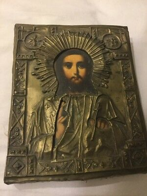 Antique Russian Religious Orthodox Icon Jesus Christ
