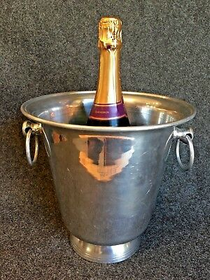 Champagne Silver Aluminum Metal Ice Bucket with 2 Ring Handles
