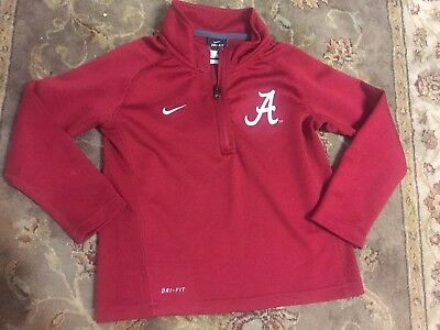 Nike Alabama Crimson Tide Dri-Fit Quarter Zip Pull Over Youth Size 5 Exc Cond