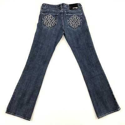 Express Womens Jeans Low Rise Stretch Embroidered BootCut Blue Size 4 Waist 30