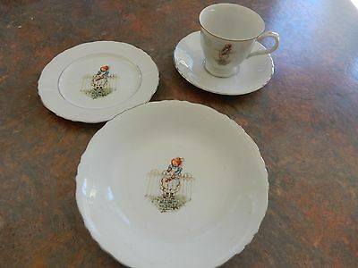 Vintage Holly Hobbie  Set Trio Cup Saucer Plate With Bowl RARE