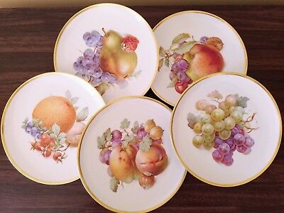 Set of 5 Fruit Plates Schumann Arzberg Germany Golden Crown E&R 1886