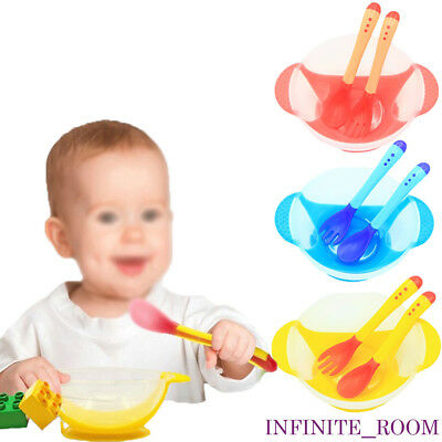 Baby Spoon Set Suction Cup Bowl Slip-resistant Tableware and Temperature Sensing