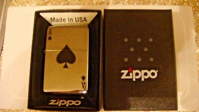 "ZIPPO lighter ace of spades brand new in box ""The prettiest card in the deck"""