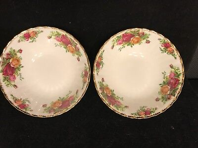 Pair Of Vintage Royal Albert Old Country Roses Soup  Bowls Made In England