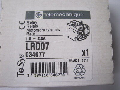 TELEMECANIQUE  LRD07  Overload Relay, TeSys D, Thermal, 1.6 A, 2.5 A 034677
