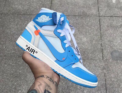 e415d8ca681c40 Mens Nike Air Jordan 1 Off White US 10.5 University Powder Blue UNC Retro  Hi Top