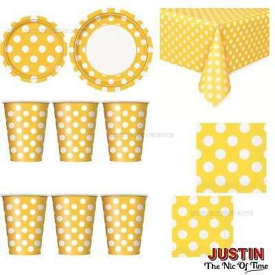 YELLOW Colour Spot Polka Dot Disposable TABLEWARE Events Catering Birthday Party