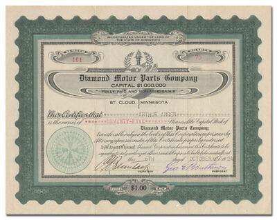 Diamond Motor Parts Company Stock Certificate (St. Cloud, Minnesota)