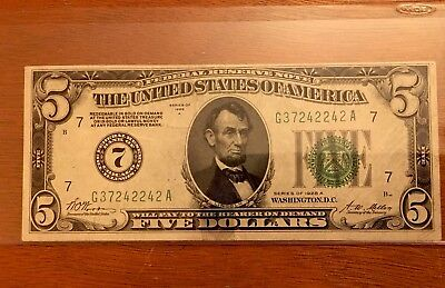 💥high Grade 1928A $5 Extremely Fine 💥gold Demand Note💥✅Forest Green Seal✅