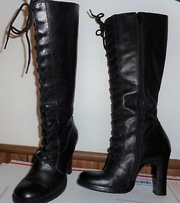 6092dd3c074 Steve Madden Women's Tall Lace Up Black Leather Boots Size 7