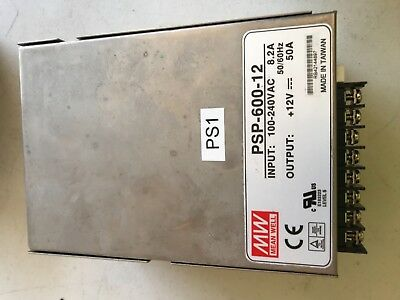 MEAN WELL PSP-600-12 POWER SUPPLY 100-240VAC 8.2A 50/60Hz INPUT 12VDC 50A OUTPUT