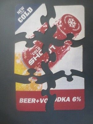 """complete JIGSAW set of 6 CARLTON Beer & Vodka """"HOT SHOT"""" Issue COASTERS"""