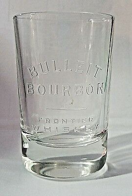 "BULLEIT BOURBON ""Frontier Whiskey"" Tumbler Clear Bar Shot Glasses 5 oz Oval"