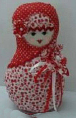 Cute Stuffed Fabric Russian Doll Babushka Style Red Single Freestanding New