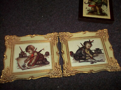 vintage Hummel guilded gold plastic frame pictures 2 in set apx. 7x6 good cond.