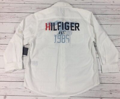 NWT Tommy Hilfiger Toddler 3T Boys Kids White Long Sleeve Button Up Shirt