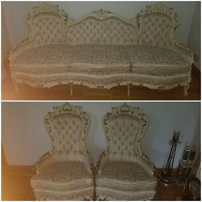 Antique French Provincial Sofa Set (Hand Carved). Beige & Gold. 1 Sofa+2 Chairs