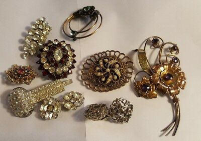VINTAGE ESTATE JEWELRY Lot of  RHINESTONE BROOCHES Craft Repair Project Art Deco