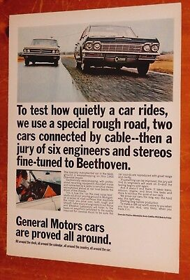 1965 Chevy Impala Sedan & 1963 Buick Wildcat For Gm Testing Ad + Catsup On Back